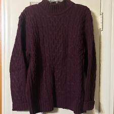 Used Mens St Johns Bay Cable Knit Mock Turtle Neck Sweater Burgundy Large L