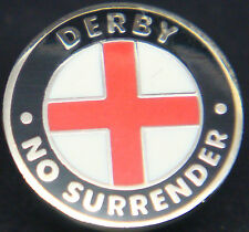 DERBY COUNTY & ENGLAND No surrender Badge Stud fitting In gilt 15mm Dia