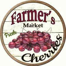 Farmers Market Fresh Cherries Metal Novelty Round Circular Sign