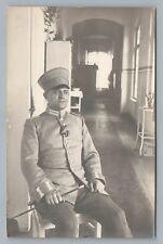 German Military Officer RPPC Antique WWI Photo—Fotokarte Medals Fotokarte AK