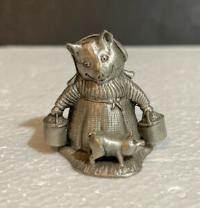 Vintage 1981 F. Warne Beatrix Potter Aunt Pettitoes Schmid  Pewter Figurine RARE