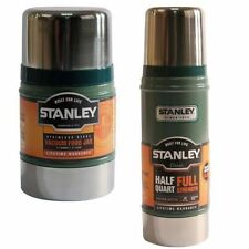 2PC STANLEY CLASSIC VACUUM FOOD JAR FLASK STAINLESS STEEL HOT COLD THERMOS 0.47L