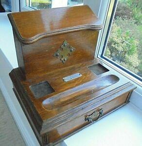 Antique solid oak desk tidy, drawer, stationery letter rack, 1901 silver plaque