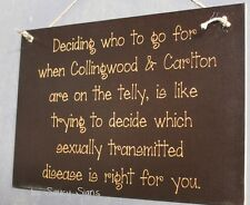 Collingwood Carlton STD Television Wooden Aussie Rules Football Jumper Sign