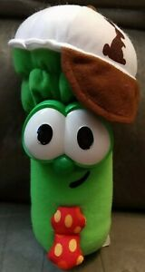 "2000 VEGGIE TALES 9"" Plush JR. JR JUNIOR ASPARAGUS Bunny Hat Logo  Stuffed Toy"