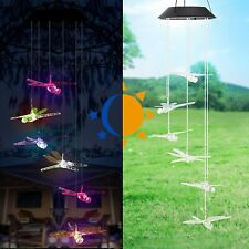 Dragonfly Led Color Changing Solar Power Wind Chimes Lamp Yard Home Garden Decor