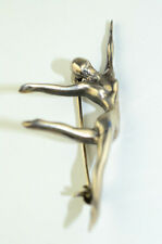 HANDWROUGHT STERLING SILVER ARTISTIC NUDE DANCER PIN BALLET MODERN DANCE