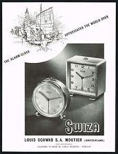 1940's Vintage 1948 Louis Schwab / Swiza Mignon Alarm Clocks Clock Art Print AD