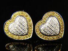 Ladies 10K Gold Heart Diamond 12Mm Stud Earrings .50 Ct