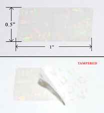 """250 Security Labels Seal Clear Hologram Tamper Evident 1"""" x 0.5"""" Stickers"""