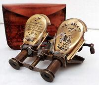 Vintage Brass Binocular Telescope Maritime Nautical Columbus Ships Spyglass CASE