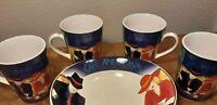 Set of  4 SANGO CAFE Americana Coffee  CERAMIC MUGS, CUPS #4911