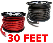 30 FT - PREMIUM 0 GAUGE RED POWER + BLACK GROUND WIRE CABLE 1/0 AWG CAR AUDIO