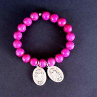 Rosary Prayer Bracelet Pink Glass Beads Infant Jesus of Prague Medals Religious