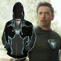 Marvel Avengers Superhero iron Man Tony Stark 3D Hoodie Coat Jacket Sweatshirt