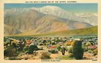Linen Postcard CA N233 The Devils Garden and Mt San Jacinto Mojave Desert 1940