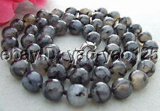 "35"" 14mm Faceted Round Black Fire Agate Necklace"