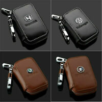 Cowhide Genuine Leather Car Key Chain Case Remote Control Auto Keyfob wallet bag