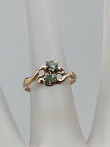 Antique Victorian 1870s .75ct Natural 2 Alexandrite 10k Yellow Gold BYPASS Ring