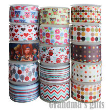 15 Yards Mixed Lot Hear Owl Donut Patterns Printed Grosgrain Ribbon