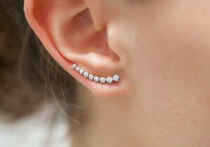 Boucles d'oreilles en argent 925 sertis de zircons - Contour de lobe - DÉESSE