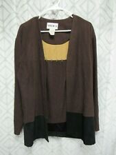 Studio I Top Size 12 Brown Pull Over Long Sleeve Faux 2 Piece Career Business