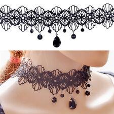 Gothic Retro Vintage Charm Black Lace Gemstone Pendant Choker Necklace Jewelryŋŋ