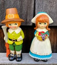 New ListingThanksgiving Ceramic Pilgrim Couple Figurines Autumn Fall -Colorful and Cute!