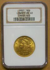 1907 $10 LIBERTY GOLD,NGC- MS-63 -OLDER HOLDER -PQ