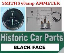 Smiths stile AMPEROMETRO NERO ALTERNATORE 60Amp Gauge per Austin Cooper & S 1960-70s