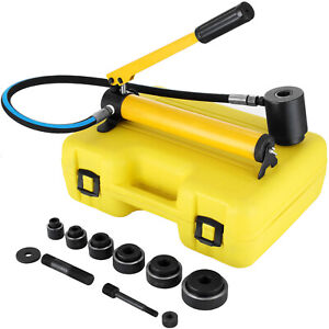 """10Ton 2"""" Hydraulic Knockout Punch Hand Pump 6 Dies Hole Tool Driver Kit Case"""