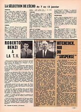 ▬► CLIPPING Roberto BENZI - Alfred HITCHCOCK - 1 page - 1963