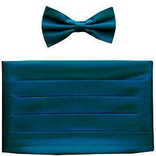 NEW in box men's formal 100% SILK Cummerbund, bowtie set solid SAPPHIRE BLUE