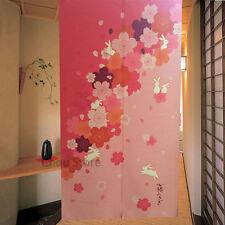 Lovely Rabbit Printed Pink Japanese Noren Door Curtain Drape Pub House Hanging