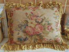 """20"""" Golden Fringe Chic Shabby Handmade Pink Rose Aubusson Pillow Cushion"""