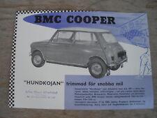 BMC MINI COOPER 997cc BMC SWEDEN EARLY SINGLE PAGE SALES BROCHURE  RARE ORIGINAL