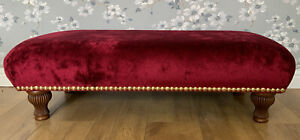 Footstool Stool In Laura Ashley caitlyn Cranberry Fabric