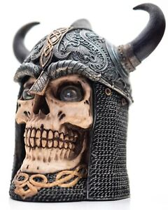 Grinning Viking Skull container with glass eyeballs, Horned Helmet & Chain mail