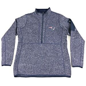 New England Patriots Antigua Womens Large Blue 1/2 Zip Pullover Jacket Sweater