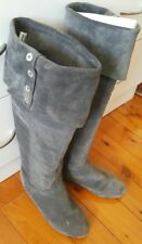 CHINESE LAUNDRY Suede Leather Calf Knee High Boots Sz 7.5 Grey Pull On Slouch  1