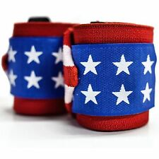 """Pro Heavy Weight Lifting Wrist Wraps Gym Bandage Support Strap 18"""" American Flag"""