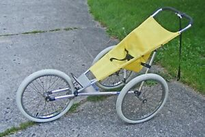 """ORIGINAL VINTAGE """"The Baby Jogger"""" by Racing Strollers Inc. Yellow, White Tires!"""