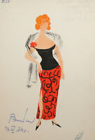 1964 Theatre costume design painting woman in red dress