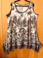 Autograph-Print-Sleeveless-Flared Top-Size 16