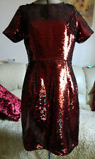 DOROTHY PERKINS DEEP RED SEQUIN FULLY LINED SHIFT DRESS NEW WITH TAGS RRP £65