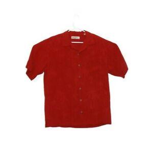 Tommy Bahama Men's M Red Short Sleeve Button Up Hawaiian Silk