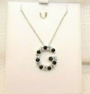 """2.85ct  Midnight Blue Sapphire & White Topaz Sterling Silver Italy  """"G"""" Necklace"""