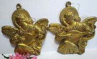 """Vintage Christmas Ornaments Gold Blow Mold ANGEL Lot of 2 9 1/2"""" tall Plastic"""