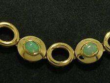 s B089 Genuine 9K SOLID Yellow Gold NATURAL Australian OPAL Line Bracelet 18cm