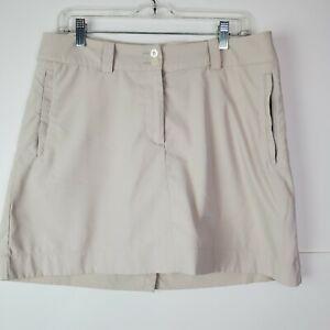 Nike Golf Tour Performance Dri-Fit Women's Khaki Tan Skort Skirt Zip Pockets 10